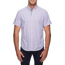 Image of Nautica SAILOR RED BUTTON COLLAR PLAID SHORT SLEEVE  SHIRT