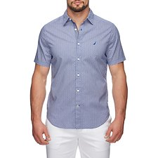 Image of Nautica MONACO BLUE GEOMETRIC FASHION PRINT SHORT SLEEVE SHIRT
