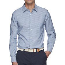 Image of Nautica RIVIERA BLUE Shadow Dot Print Wrinkle Resistant Shirt
