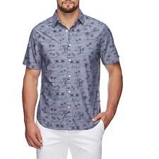 Picture of PALM PRINT ON CHAMBRAY SHORT SLEEVE SHIRT