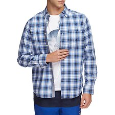 Image of Nautica RIVIERA BLUE SQUARE UP POPLIN LONG SLEEVE SHIRT