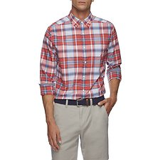 Image of Nautica SAILOR RED EVERDAY PLAID LONG SLEEVE SHIRT