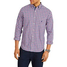 Image of Nautica  NAVTECH POCKET PLAID LONG SLEEVE SHIRT