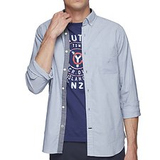 Image of Nautica RIVIERA BLUE NAVTECH FINE STRIPE LONG SLEEVE SHIRT