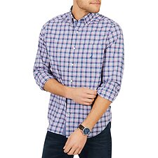 Image of Nautica ENSIGN BLUE LONG SLEEVE CLASSIC FIT PLAID SHIRT