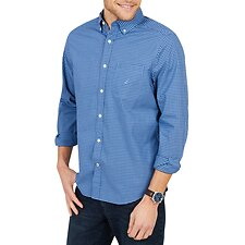Image of Nautica RIVIERA BLUE SHIPYARD STACKED STRIPE SHORT SLEEVE SHIRT