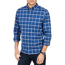 Image of Nautica ENSIGN BLUE PLAID CLASSIC FIT OXFORD LONG SLEEVE SHIRT