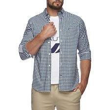 Image of Nautica TIDAL GREEN PLAID MINI CHECK POPLIN SHIRT