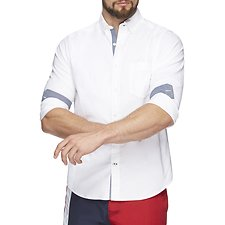 Image of Nautica BRIGHT WHITE FADED STRETCH LONG SLEEVE OXFORD SHIRT