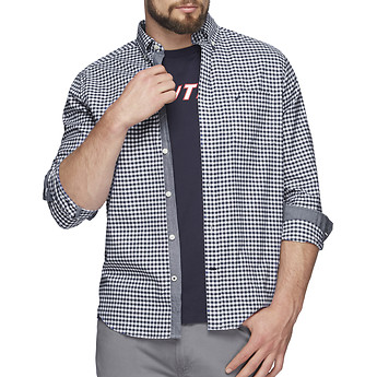 Image of Nautica  GINGHAM OXFORD STRETCH LONG SLEEVE SHIRT