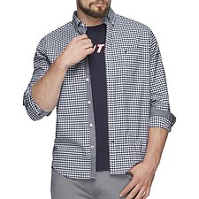 Image of Nautica JUST NAVY GINGHAM OXFORD STRETCH LONG SLEEVE SHIRT