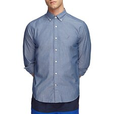 Image of Nautica ENSIGN BLUE DOBBY PRINT POPLIN LONG SLEEVE SHIRT