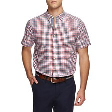 Image of Nautica SUNBAKED RED MINI CHECK STRETCH POPLIN SHIRT