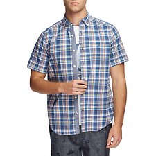 Image of Nautica ENSIGN BLUE VINTAGE PLAID SHORT SLEEVE SHIRT