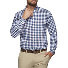 Image of Nautica ENSIGN BLUE SHADOW LAYER PLAID LONG SLEEVE SHIRT