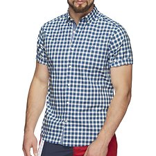 Image of Nautica ENSIGN BLUE SHIPYARD PLAID SHORT SLEEVE  SHIRT