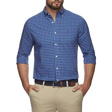 Image of Nautica CLEAR DARK BLUE Classic Check Stretch Poplin long sleeve Shirt