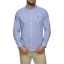 Image of Nautica CLEAR DARK BLUE NAVTECH FINE PLAID LONG SLEEVE SHIRT