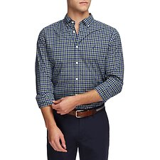 Image of Nautica ESTATE BLUE NAVTECH FINE CHECK LONG SLEEVE SHIRT