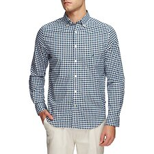 Image of Nautica TIDAL GREEN NAVTECH PLAID POCKET LONG SLEEVE SHIRT