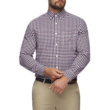 Image of Nautica ZINFANDEL NAVTECH PLAID POCKET LONG SLEEVE SHIRT