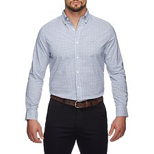 Image of Nautica BRIGHT WHITE WRINKLE REISISTANT MICRO PLAID LONG SLEEVE SHIRT