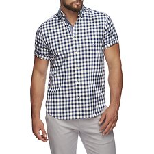 Image of Nautica BLUE DEPTHS CLASSIC FIT STRETCH SHORT SLEEVE SHIRT IN GINGHAM