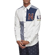 Image of Nautica SAIL WHITE Navigate fashion block long sleeve shirt