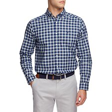 Image of Nautica BLUE DEPTHS Navtech Coolest Comfort Plaid Long Sleeve Shirt