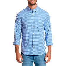 Image of Nautica FRENCH BLUE WRINKLE-RESISTANT SLIM FIT SHIRT IN PLAID