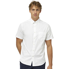 Image of Nautica BRIGHT WHITE SHORT SLEEVE OXFORD CLASSIC FIT SHIRT