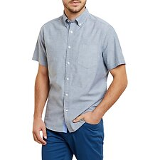 Image of Nautica NAVY SHORT SLEEVE OXFORD CLASSIC FIT SHIRT