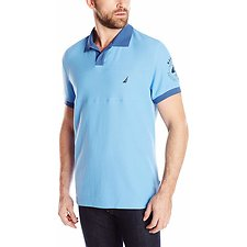Image of Nautica BLUE CHARM Big & Tall Sport Stripe Short Sleeve Polo