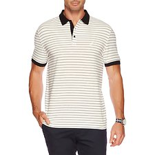Image of Nautica MARSHMELLOW Big & Tall Stripe Performance Deck Polo