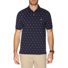 Image of Nautica NAVY Big & Tall Anchor Print Short Sleeve Polo