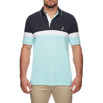 Image of Nautica  BIG & TALL COLOUR BLOCK ENGINEERED STRIPE POLO SHIRT